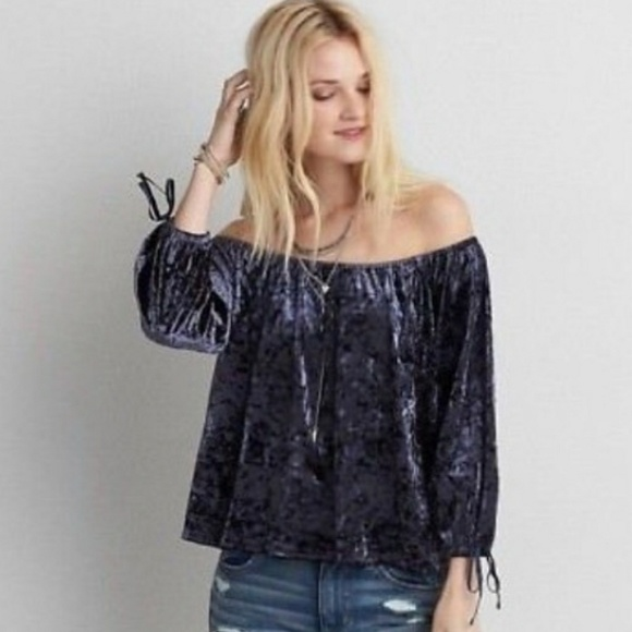e03f7c7c9c501e American Eagle Outfitters Tops | American Eagle Crushed Velvet Navy ...